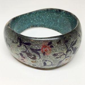 Vtg Lucite Acrylic Chunky Bangle Bracelet Glittery